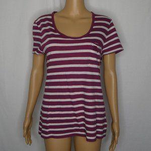 Burberry Brit Striped Scoop Neck T Shirt Pocket Md